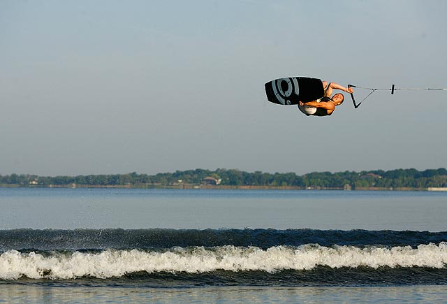 Bob Sichel is flipping over some warm weather wakeboarding