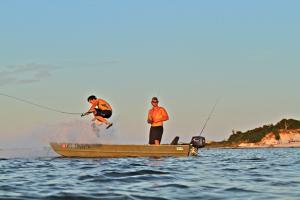 Jon Shell kickflip jonboat in  the Pensacola Sound