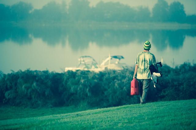 Erik Ruck getting ready for a foggy ride on Lake Hiawassee