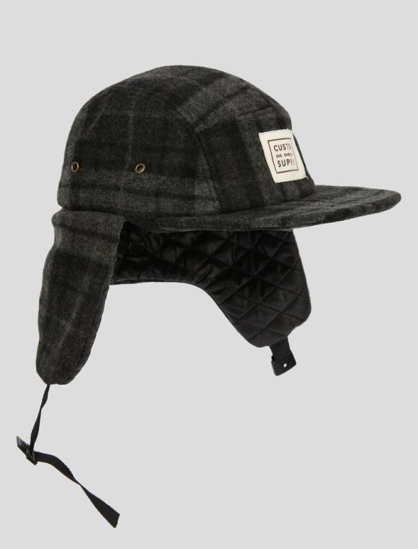 She Shreds Black Plaid 5 panel Ear Flap Hat