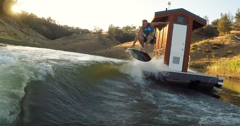 Johnny Stieg acid drops into wave off floating dock ...
