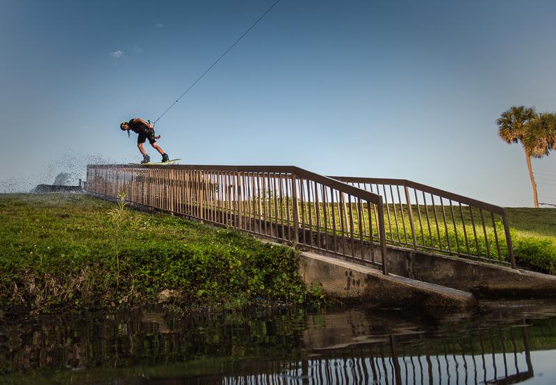 Long, sketchy rail + dirty water = Right up BP's alley  //  photo: Rodrigo